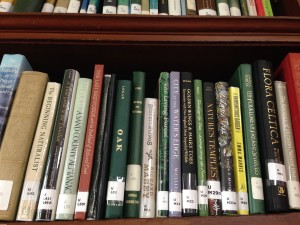 Witness Tree has great company on the natural history shelf at the horticultural library at the Arnold Arboretum of Harvard University